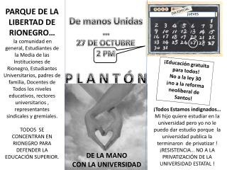 De manos Unidas … 27 DE OCTUBRE 2 PM P L A N T Ó N