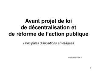 Avant projet de loi  de décentralisation et  de réforme de l'action publique