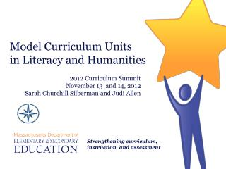 Model Curriculum Units  in Literacy and Humanities