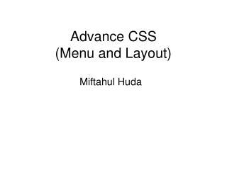 Advance CSS (Menu and Layout)