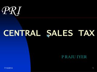 CENTRAL SALES TAX