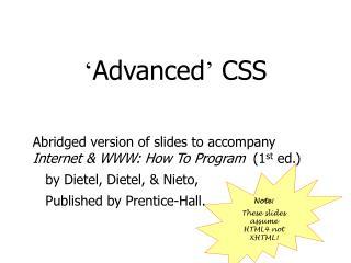 ' Advanced '  CSS