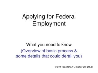 Applying for Federal Employment