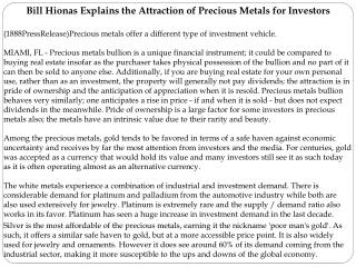 Bill Hionas Explains the Attraction of Precious Metals for I