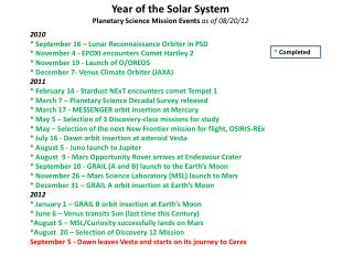 Year of the Solar System  Planetary Science Mission Events  as of 08/20/12