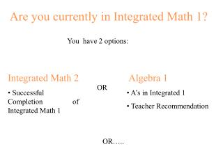 Are you currently in Integrated Math 1?