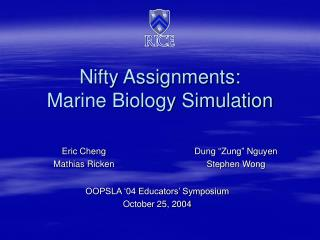 Nifty Assignments: Marine Biology Simulation