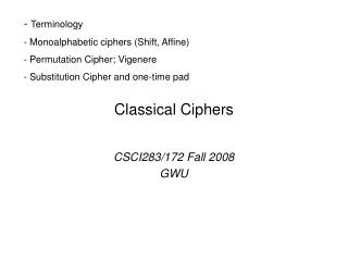 Classical Ciphers