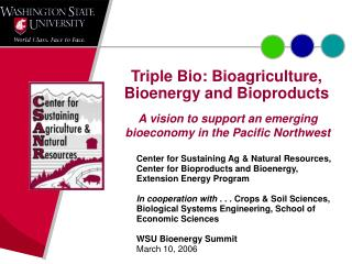 Triple Bio: Bioagriculture, Bioenergy and Bioproducts