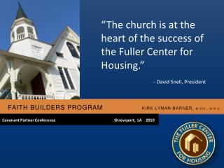 Faith Builders Program                   Kirk Lyman-Barner,  M.Div., M.b.A.
