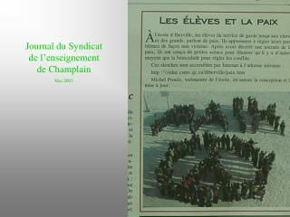 Journal du Syndicat de l'enseignement de Champlain Mai 2003