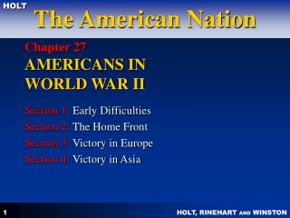 Chapter 27  AMERICANS IN  WORLD WAR II
