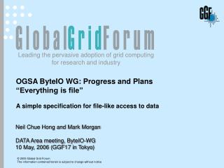 "OGSA ByteIO WG: Progress and Plans ""Everything  is file"" A simple specification for file-like access to data"