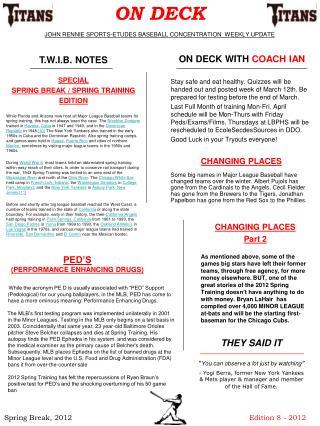 ON DECK JOHN RENNIE SPORTS-ETUDES BASEBALL CONCENTRATION  WEEKLY UPDATE