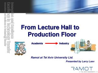 From Lecture Hall to Production Floor Academia                        Industry Ramot at Tel Aviv University Ltd. Presen