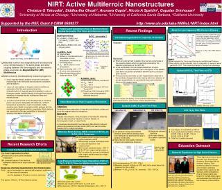 NIRT: Active Multiferroic Nanostructures Christos G Takoudis 1 , Siddhartha Ghosh 1 , Arunava Gupta 2 , Nicola A Spaldi