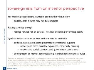 sovereign risks from an investor perspective