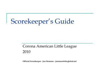 Scorekeeper's Guide