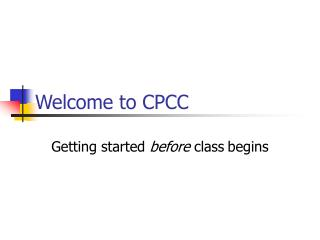 Welcome to CPCC