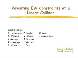 Revisiting EW Constraints at a Linear Collider