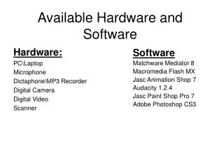 Available Hardware and Software