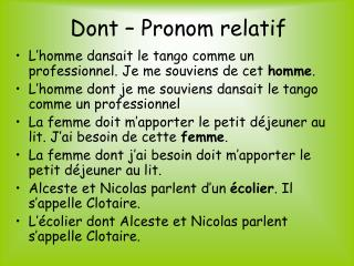 Dont – Pronom relatif
