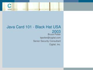Java Card 101 - Black Hat USA 2003