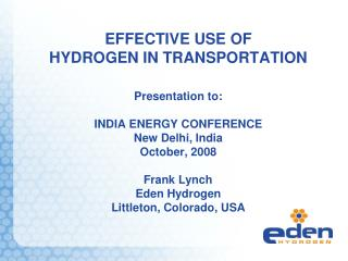 EFFECTIVE USE OF HYDROGEN IN TRANSPORTATION