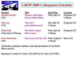 CROP 2000 Colloquium Schedule