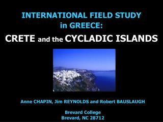 INTERNATIONAL FIELD STUDY  in GREECE: