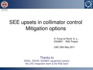 K. Foraz & Perrot  A. L.,  EN/MEF -  R2E Project LMC 25th May 2011