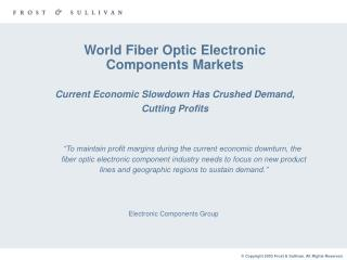 World Fiber Optic Electronic Components Markets Current Economic Slowdown Has Crushed Demand, Cutting Profits