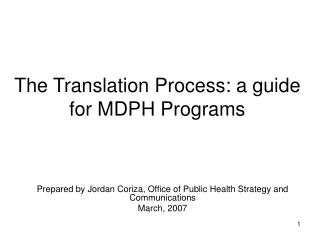 The Translation Process: a guide for MDPH Programs