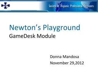 Newton�s Playground GameDesk Module