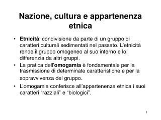 Nazione, cultura e appartenenza etnica