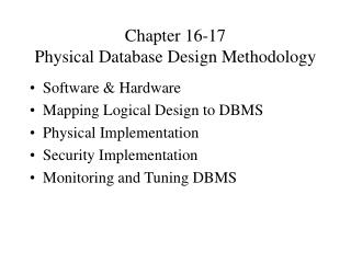 Chapter 16-17 Physical Database Design Methodology