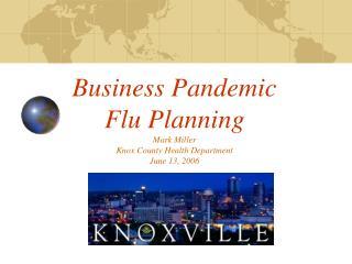 Business Pandemic  Flu Planning Mark Miller Knox County Health Department June 13, 2006