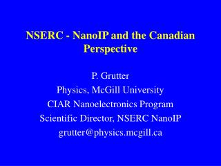 NSERC - NanoIP and the Canadian Perspective