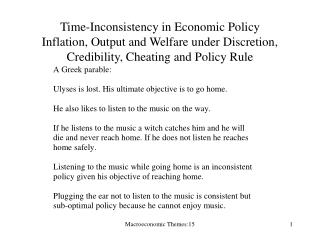 Time-Inconsistency in Economic Policy Inflation, Output and Welfare under Discretion, Credibility, Cheating and Policy