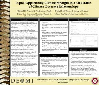 Equal Opportunity Climate Strength as a Moderator  of Climate-Outcome Relationships
