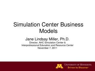 Simulation Center Business Models