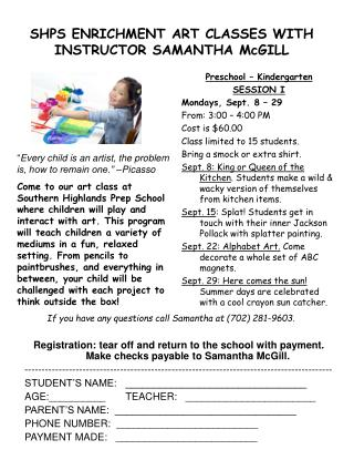 SHPS ENRICHMENT ART CLASSES WITH INSTRUCTOR SAMANTHA McGILL