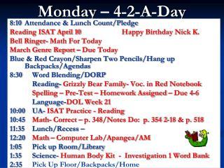Monday – 4-2-A-Day