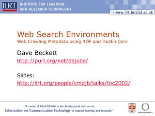Web Search Environments Web Crawling Metadata using RDF and Dublin Core