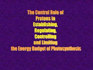 The Central Role of  Protons in  Establishing,  Regulating,  Controlling  and Limiting  the Energy Budget of Photosynth