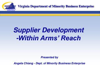 Supplier Development -Within Arms  Reach