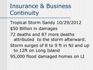 Insurance & Business Continuity