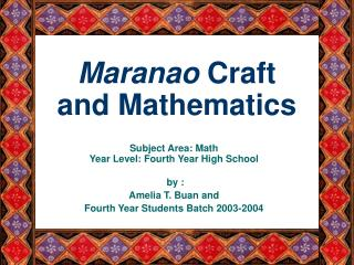 Maranao  Craft and Mathematics