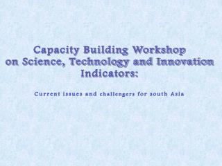 Capacity Building Workshop on Science, Technology and Innovation Indicators: Current issues and  challengers  for south