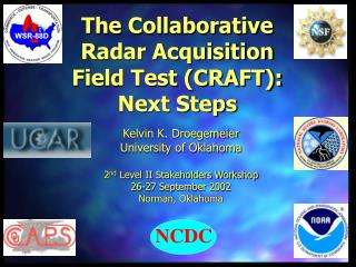 The Collaborative  Radar Acquisition  Field Test (CRAFT):  Next Steps